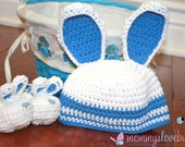First Easter Bunny Baby Crochet Beanie and Matching Booties- Newborn to 12 Month Sizes