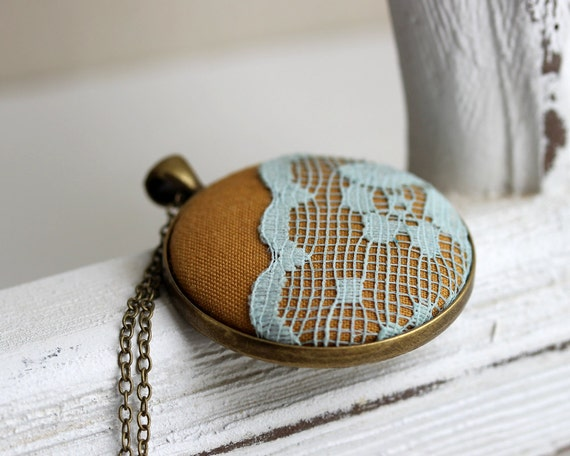 Mustard Yellow Pendant, Dyed Sky Blue Lace Necklace, Blue Lace Jewelry, Fall Fashion Scalloped Lace Pendant Bohemian Boho Jewelry
