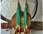 Teal Sunrise handmade beaded dangle earrings 6.5 in. long