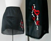 Valentine's Embroidered Love Slip 1960s Black Mini Lingerie