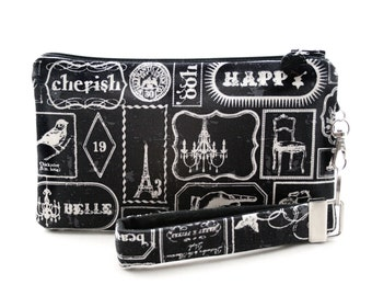 French vintage typography gift - black wristlet bag is a small purse for women handmade with unique word art