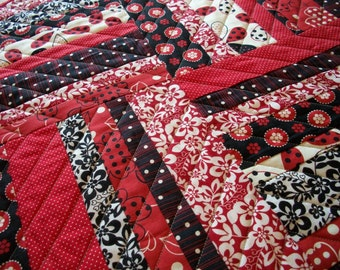 Red Black Table Topper Scrappy Quilted