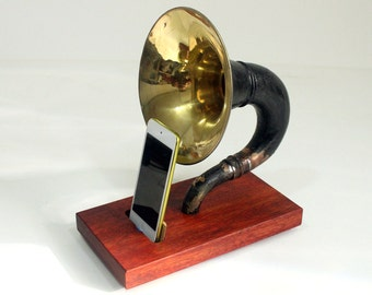 The Horn Phone - iHorn -- Large Brass  Acoustic  Speaker Upright Horn Dock -- Acoustic Speaker System Docking Station  Bloodwood - Black