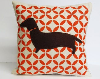 Hand Printed Doxie Pillow - Mid Century Hand Printed Doxie Dachshund Pillow