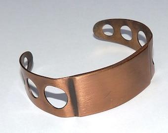 Wide Copper Cuff Mod, Abstract, Engrave It! , Vintage Bracelet, Vintage Jewelry