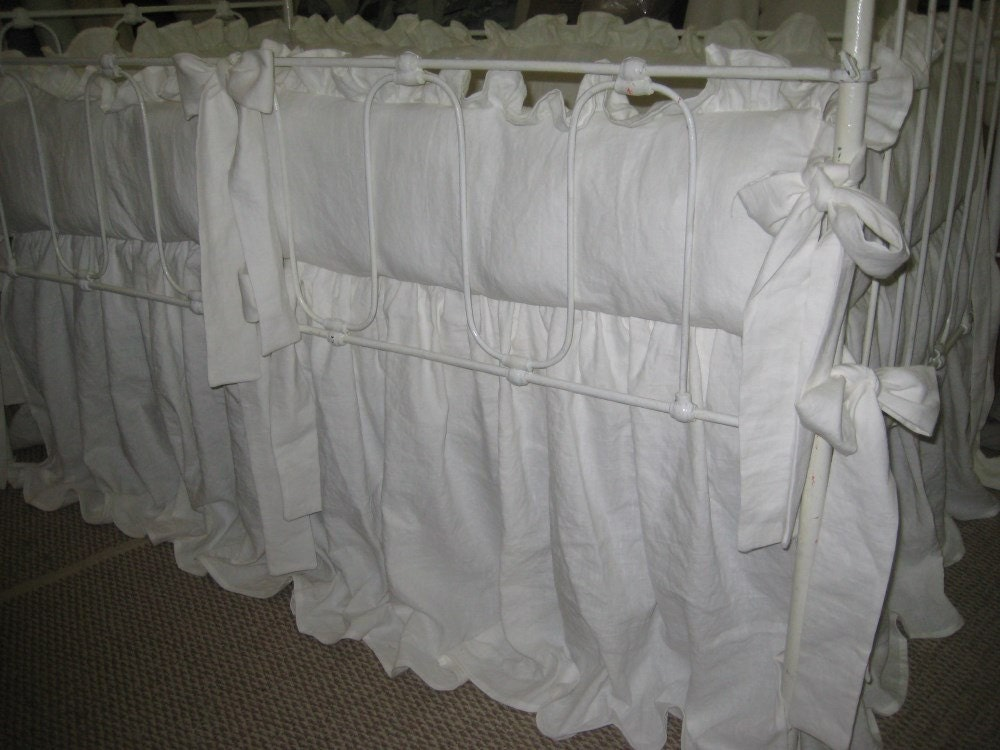 Vintage White Washed Linen Ruffled Crib BeddingRuffled Crib