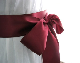 Wine / burgundy / merlot / garnet wedding sash, bridal sash, bridesmaid sash, bridal belt, 2.25 inch satin