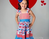 The Liberty 4th of July patriotic flutter dress for girls toddlers babies