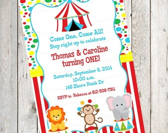 10 PRINTED Circus Birthday Invitations with Envelopes.  Free Return Address Labels