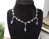 Genuine Quartz & Purple Sugalite Drop Collar Statement Necklace