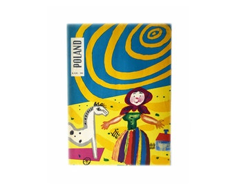 Large Poland Magazine | Vintage 1956 | Children's Day Cover | Graphics | Folk Art | Polish