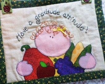 Gratitude Attitude Quilted Wall Hanging/Mini Quilt