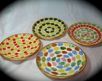 Vintage Set of Four Mosaic Tiled Leaf Dishes Coasters Ashtrays Trinket Dish.