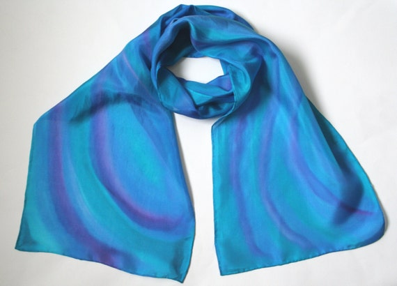 Turquoise Scarf.. Hand Painted Silk Scarf. Cruise Accessory. Carribean Waters