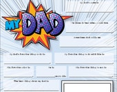 Fathers Day Fill In Card Kids Craft Project for Dad Instant Download Printable card Fun Questionnaire Personalized Father Day Gift from kids