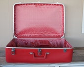 Vintage Red Sears Featherlite Suitcase
