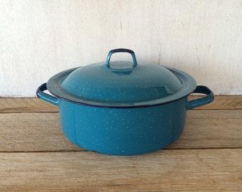 Vintage Turquoise Enamelware Lidded Pot