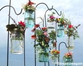 Wedding Aisle Mason Jar DIY Hanging Flower Vases or Lanterns 8 Gold or Silver Hanging Flower Lids, Wedding, Party, Outdoor Event, No Jars