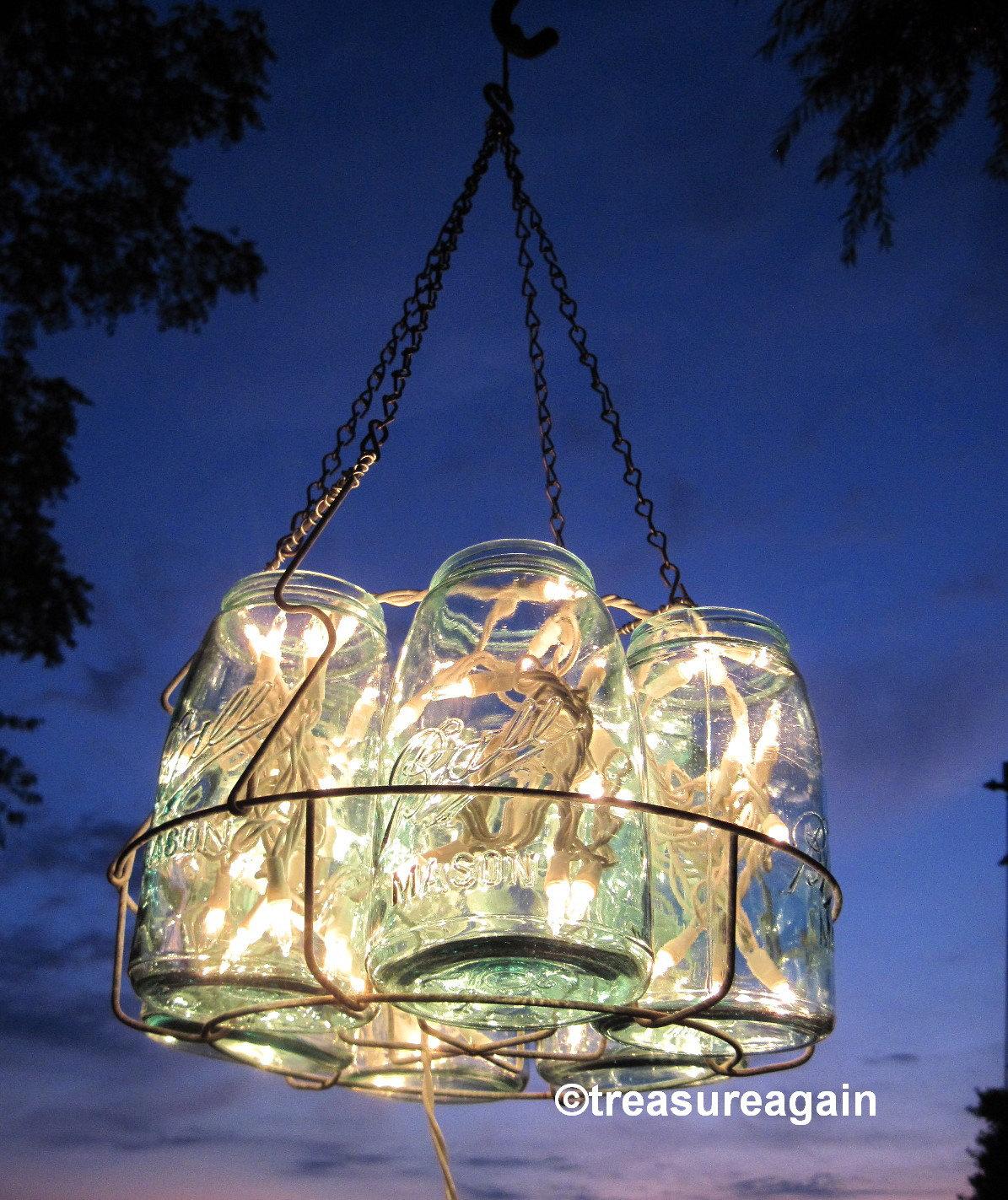 Mason Jar Chandelier: Vintage Chandelier Antique Mason Jar Chandelier 6 Sloped Blue