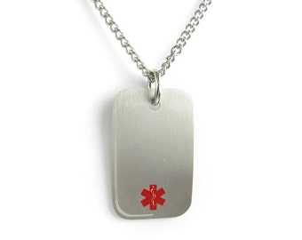 Medical ID Dog Tag Necklace, Steel, Red Symbol, PDS1R