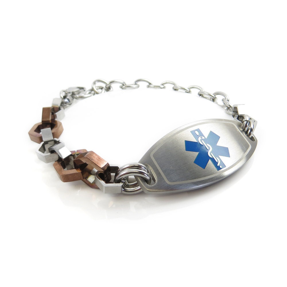 Mens Medical Id Bracelet Bolts Design Steel Blue Symbol