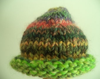 hand knit baby hat yellow/purple/green