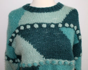 Teal and Tuquoise Pom Pom Sweater