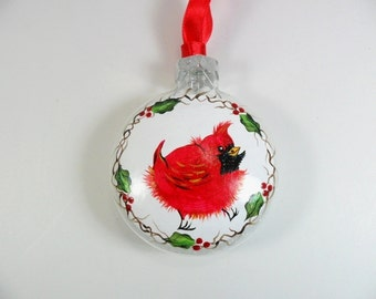 Red Cardinal Tree Ornament Hand Painted Glass