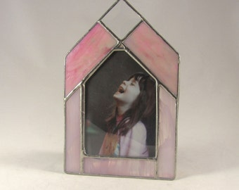 Pink and Iridescent Pink Hand Crafted Stained Glass Table Top Picture Frame
