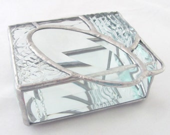 Assorted Clear Textured Glass and Oval Glass Bevel Stained Glass Jewelry Box