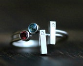 Two Initial and Gemstone Stacking Ring Set- Garnet and Blue Topaz Ring, Silver or GF Ring w Rectangle Custom Initial Bar By Pale Fish NY