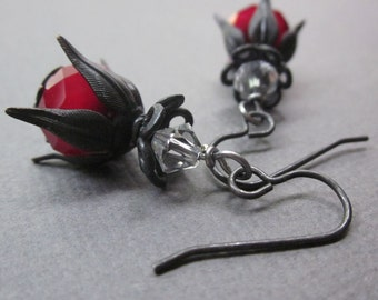 art nouveau black and red - the lila earrings