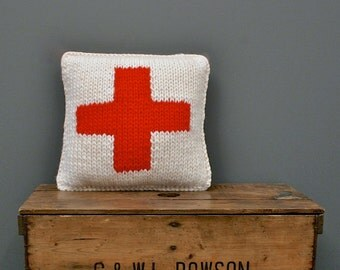 Hand Knitted Pillow - Red Cross Knitted Pillow - 100% Chunky Wool Pillow - Swiss Red Cross Pillow