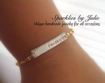 Custom Silver Bar Bracelet - Hand Stamped Sterling Silver Name Bar, Wire Wrapped Gemstone Rondelles, Personalized, Adjustable