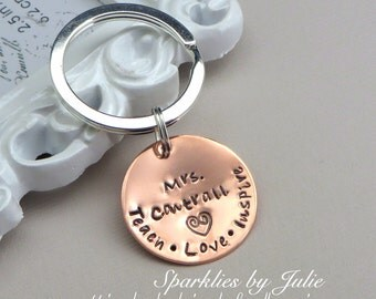 Teach.Love.Inspire - Hand Stamped Copper Key Chain, Personalized Teacher Appreciation, End-of-School Year Gift, Silver Plated Key Ring