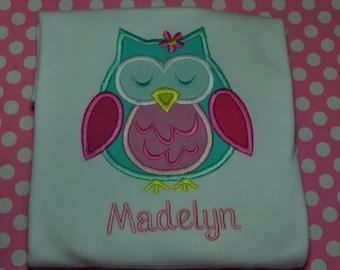 Monogrammed Owl Shirt or Bodysuit  Long or Short Sleeve Girl or Boy