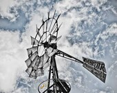 Rustic windmill art, windmill, windmill decor, Arizona art decor, farmhouse decor, open range, southwestern decor, western decor, photograph