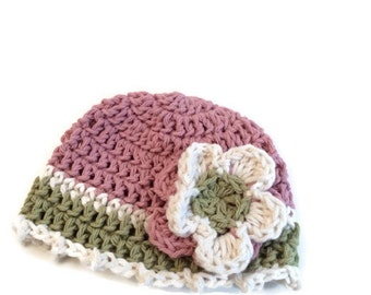 """Tri-color cotton beanie """"kidlid"""" for newborn baby girl"""