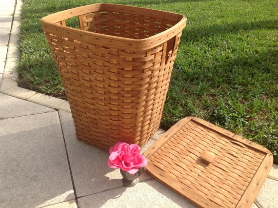 Vintage Longaberger Tall Laundry Basket With Lid Almost 2 Feet