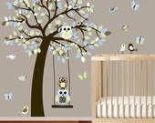 Boy Blue Brown Nursery Vinyl Wall Decal Tree with Owls Birds Pattern Leaves