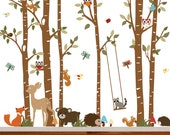 Birch Tree Deer Wall Decal with Forest animals,BirchTree Decal,Birch Tree Wall Decal,Kids Vinyl Sticker Removable
