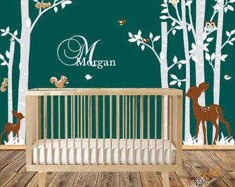 Nursery Wall Decal White Birch Tree Decal Custom Name Decal tree vinyl decal children wall decal birch forest tree decal