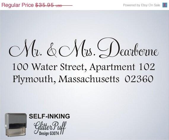 CUSTOM ADDRESS Stamp - personalized wedding gift, return address stamp, designer stamp - Self inking