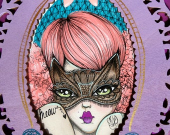 Kitty-Kat Lace Face Original 8x10 Painting on Mixed Media Board with Hand Painted Double Stacked Wood Ornate Frame