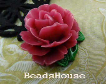 2pcs (35 x 40mm) Big Peony Cabochon - Rose