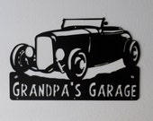 Man Cave / Car Sign / Hot Rod / 1932 Ford  / Garage Sign / Satin Black / Metal Art / Metal wall decor  / Hot Rod / Personalized Metal Sign