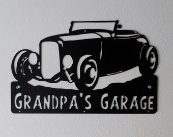 32 Ford Hot Rod Man Cave / Car Sign / Hot Rod / Garage Sign / Black / Metal Art / Metal wall decor  / Hot Rod / Personalized Metal Sign