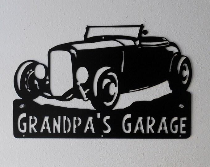 1932 Ford Hot Rod Man Cave / Car Sign / Hot Rod / Garage Sign / Black / Metal Art / Metal wall decor  / Hot Rod / Personalized Metal Sign