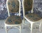 Pair of Louis chairs dining desk newly upholstered and painted