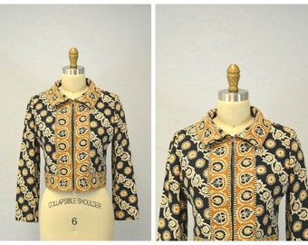 1960s PATTERN jacket ethnic / spring fashion 60s khaki tan Palm Beach Medium Large IngridIceland